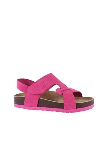 Kids A More Diaz Tek Cırtlı Deri Kız Çocuk Sandalet  Fuşya